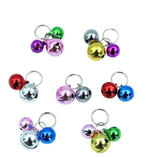 (EXPAWLORER Bells for Cat Collars - 18 Pcs Colourful Dog Charm Bells for Collars Necklace Pendant Accessories with 20 Pcs Key Rings )