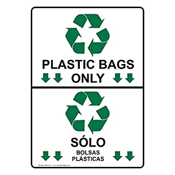 ComplianceSigns Vertical Plastic Plastic Bags Only Sólo Bolsas