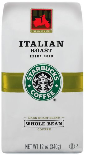 Starbucks Italian Roast Coffee, Whole Bean, 12-Ounce Bags (Pack of 3)