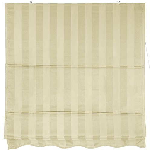 Oriental Furniture Striped Roman Shades - Cream - (72 in. x 72 in.)
