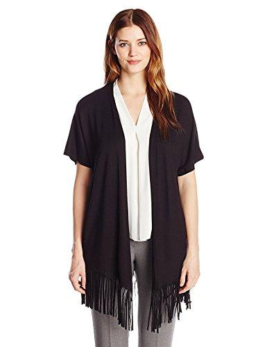 ローブフィードマークダウンG.H. Bass & Co. Women's Fringe Bottom Jacket Black Medium [並行輸入品]