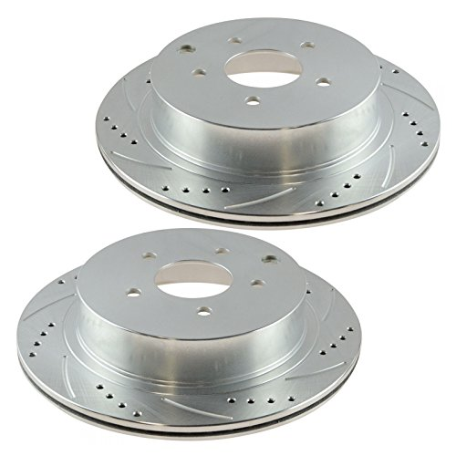 (Performance Brake Rotor Drilled & Slotted Coated Rear Pair for Nissan)