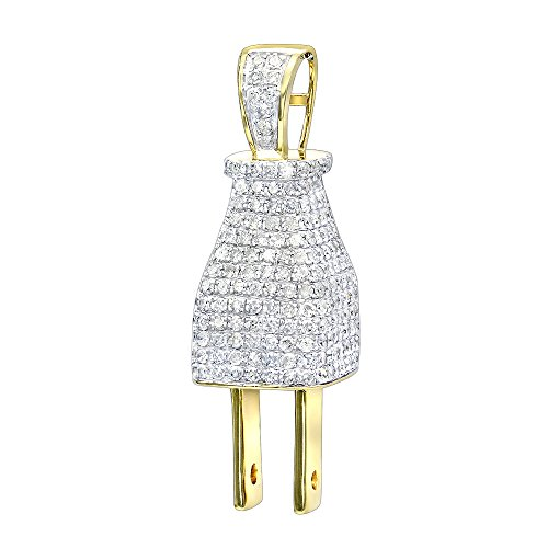 Mens 10K Gold Hip Hop Jewelry 3D Real Gold and Diamond Power Plug Pendant 2.5ctw (Yellow Gold) by Luxurman