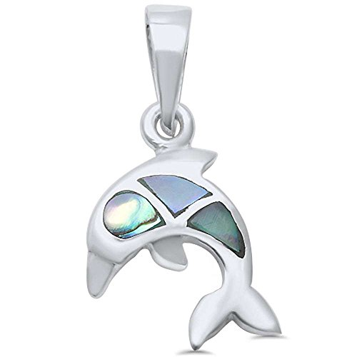 Sterling Silver Abalone Dolphin Pendant - Dolphin Solid Sterling Silver Necklace