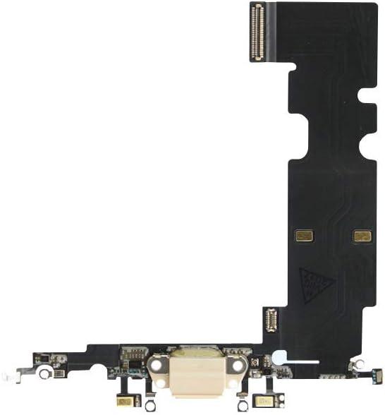 RepairMedia-Shop ★RM★ - Conector de Carga para iPhone 8 Plus, Cable de Audio Jack Flex, Antena, micrófono, Color Blanco y Dorado