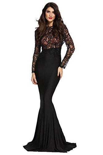 Neuf femmes Noir Sheer Paillette corsage Robe de soirée Robe cocktail Party Prom Taille M UK 10EU 38