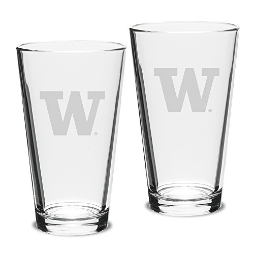NCAA Washington Huskies Adult Set of 2 - 16 oz Pub Mixing Glasses Deep Etch Engraved, One Size, Clear