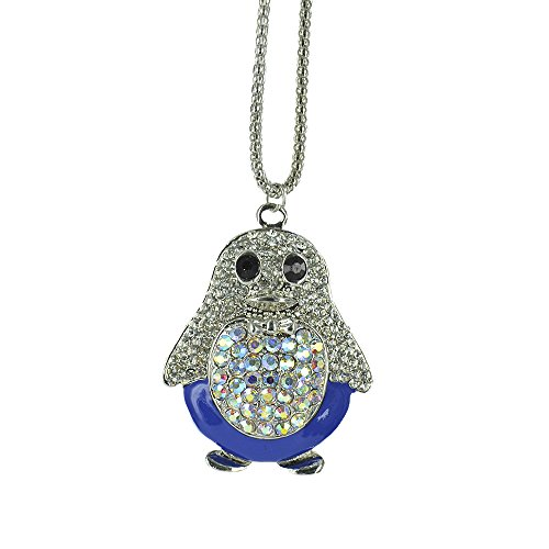 Twinkle Crystal Metal Pendant Necklace - Opera Glam Chick (Blue) (Homemade Bird Costumes For Adults)