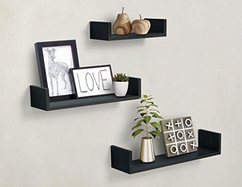 3 Floating U Shelves, Black Finish