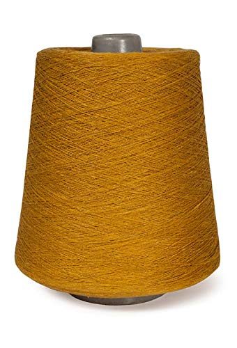 (Linen Yarn Cone - 100% Flax Linen - 1 LBS - Golden Ocher Color - 3 PLY - Sewing Weaving Crochet Embroidery - 3.000 Yard)