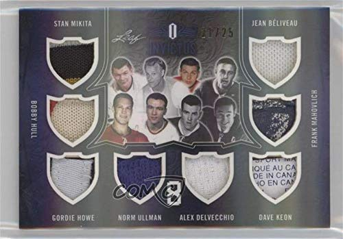 (Stan Mikita; Bobby Hull; Gordie Howe; Norm Ullman; Alex Delvecchio; Dave Keon; Frank Mahovlich; Jean Beliveau #21/25 (Hockey Card) 2017-18 Leaf Invictus - 8 Relics #I8-05)