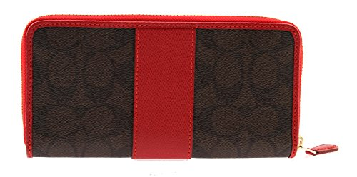 Coach Signature Coated Canvas with Leather Stripe Accordion Zip Wallet in Brown/True Red, F54630 IML72