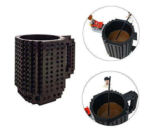 OSOPOLA Build-On Brick Mug Coffee Cup DIY Type Plastic Creative Building Blocks Coffee Tea Beverage Drinking Funny Gift(12oz Black Mug) -