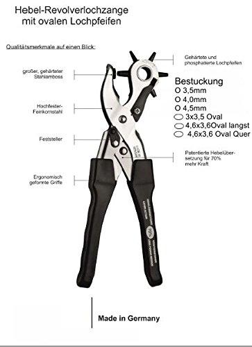 PunchIt Revolver OVAL Lochzange Mit Hebelverst/ärkung f/ür Leder und BioThane