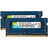 DUOMEIQI 8GB Kit (2 X 4GB) DDR3-1066 Sodimm 1RX8 PC3-8500S 1066MHz 204pin 1.5v CL7 Unbuffered Non-ECC Dual Channel Notebook Memory Laptop RAM Module for Intel AMD and Mac System