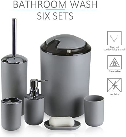 IMAVO Bathroom Accessories Set,6 Pcs Plastic Gift Set Toothbrush Holder,Toothbrush Cup,Soap Dispenser,Soap Dish,Toilet Brush Holder,Trash Can,Tumbler Straw Set Bathroom (Grey) 414nHha 2BUyL