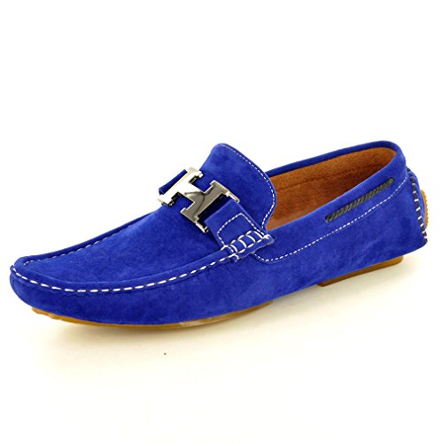 Men's Slip On Faux Suede Casual Loafers Moccasins Shoes Blue GDdq4mc2