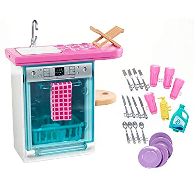 Barbie Indoor Furniture Playset, Kitchen Dishwasher with Working Door and Pull-Out Tray, Plus Dishes and Washing Accessories: Toys & Games