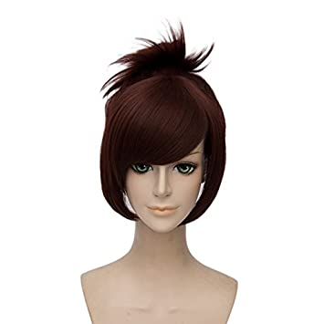 Amazon.com: netgo Brown Cosplay Wig with 1 Clip on Ponytail Heat ...
