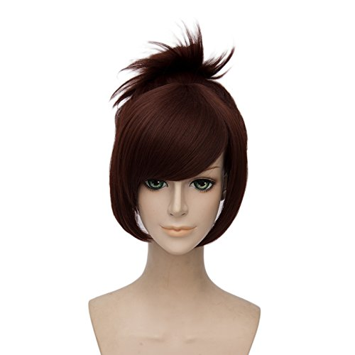 Netgo Brown Cosplay Wig with 1 Clip on Ponytail Heat Resistant Custome Halloween Wigs for Women Girls - Custome Wigs