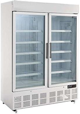Exterior blanco,Puertas de cristal con marco de aluminio,10 estantes ajustables,Panel de visualizaci