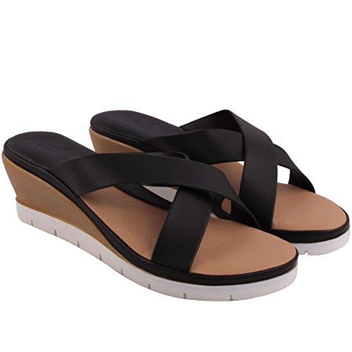 Unze Nueva Mujer 'Aquino' Crossover Cuña Verano Noche Beach Party Get Together Escuela Carnaval Casual Zapatos Deslizadores Tamaño UK 3-8 Negro
