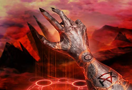 Leowefowa 8x6.5ft Vinyl Halloween Backdrop Demonic Hand Photography Background Demonic Hand with Claws Casting Pentacle Fire Sign on a Hellish Landscape Background Photo Studio ()