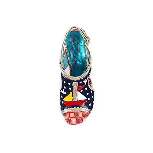 Multi Irregular Choice by Abierta Punta Sandalias Poetic para con Navy Azul B Mujer Sail Away Licence wC64EExqS