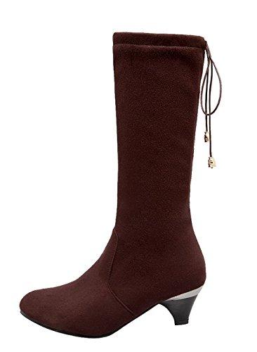 Fermeture Éclair Ageemi Bas Pointu Fermé Chaussures Classique Brun Talons Extérieur Femmes Eux110 Bout Bottes dIRxZdq5