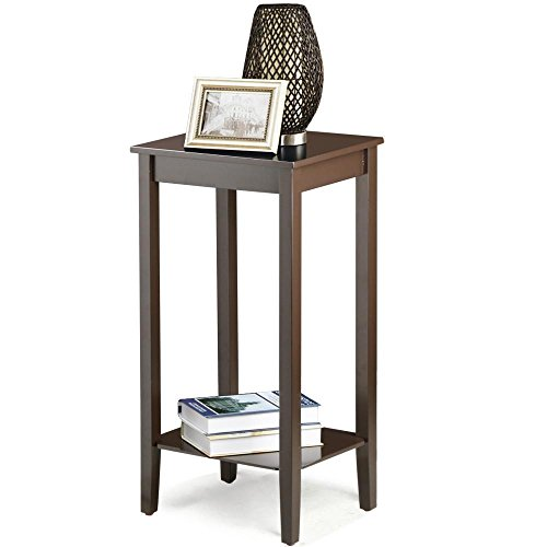 Topeakmart Wood Coffee Table Tall Bedside Nightstand Bedroom Living Room Sofa Side End Table Furnture, Espresso (Table Drawer With Tall Telephone)