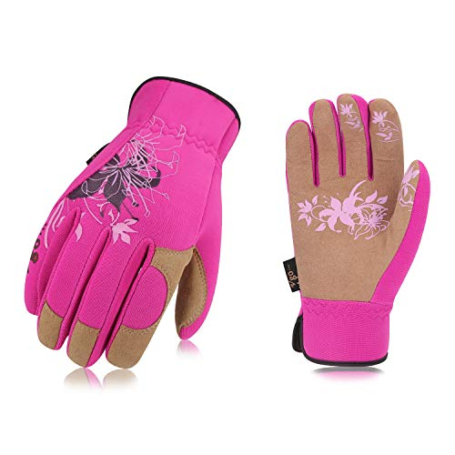 Vgo Ladies' High Breathability Synthetic Leather Gardening Gloves(1Pair, Size L,Red,SL7443)