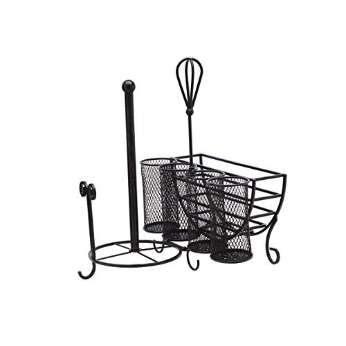 Gourmet Basics by Mikasa 5176813 Avilla Picnic Plate Napkin and Flatware Storage Caddy with Paper Towel Holder, Antique Black - smallkitchenideas.us