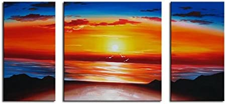 Noah Art-Modern Sunset Wall Art, 100% Hand Painted Gallery Wrapped Seascape Oil Paintings on Canvas, 3 Panel Framed Ocean Beach Artwork for Living Room Home Decor, 24 Inch Height x 48 Inch Width