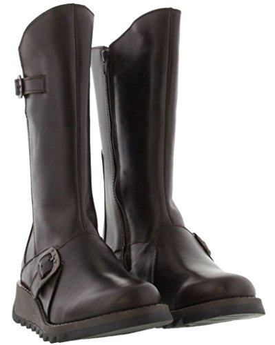 Fly London Mes 2 Dark Brown Pelle Womens Mid Calf Stivali