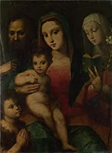The high quality polyster Canvas of oil painting 'Andrea and Raffaello del Brescianino - The Madonna and Child with Saints,1506-45' ,size: 24x33 inch / 61x83 cm ,this High quality Art Decorative Canvas Prints is fit for Bedroom gallery art and Home gallery art and Gifts