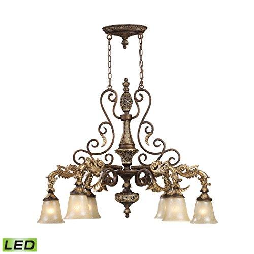 Alumbrada Collection Regency 6 Light LED Island In Burnt Bronze And Gold Leaf (Gold Leaf Burnt Sconce)