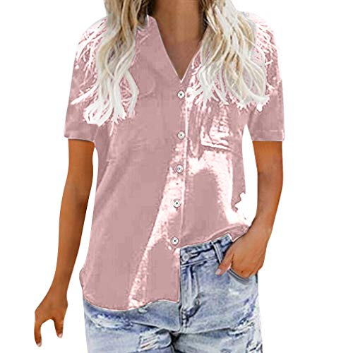 kemilove Womens Loose Blouse Short Sleeve V Neck Button Down T Shirts Tie Front Knot Casual Tops Pink