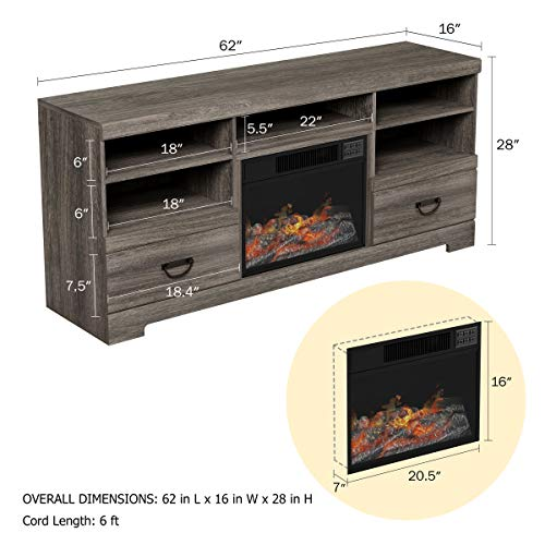 Lavish Home 80-FPWF-8 Heat Electric Fireplace Console-for TVs up to 65 , Media Shelves,Two Drawers,Remote Control, LED Flames, Adjustable Heat Light by Northwest, Grey