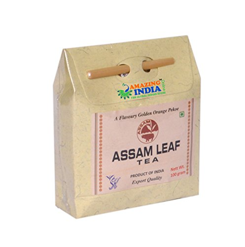 Assam Leaf Tea 100% Pure Organic Herbal Black Tea - 100gm/Assam Tea Leaves with Golden Tips/Strong, Malty & Rich - Exotic Assam Tea Loose Leaf