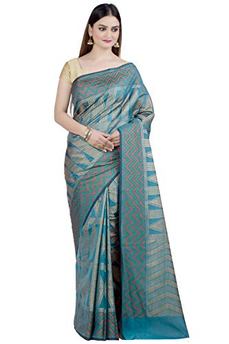 Chandrakala Women's Sea Green Art Silk Banarasi Saree,Free Size(1315SEA)