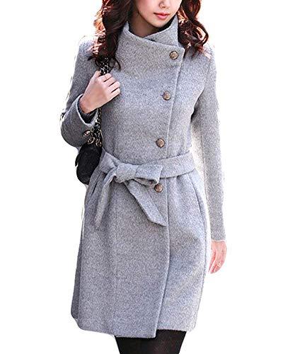 Veste coloré Épaisse Xxl Gris Oudan Ceinture 56inch Femme bust 40 Avec Élégante Col Noir Rabattu Et Long Taille fHxdRw1xq