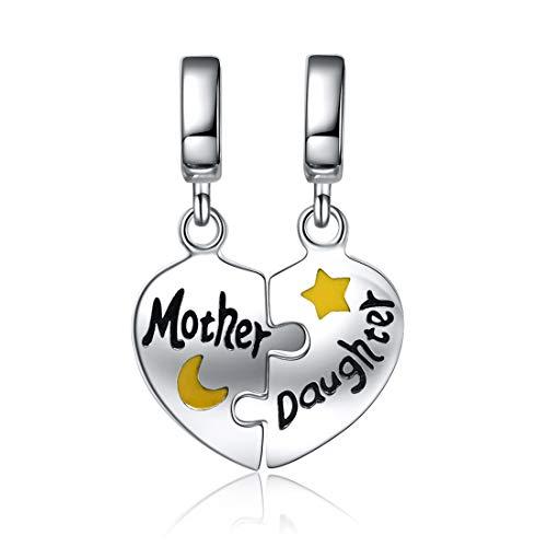 Mom Mother Daughter Heart Love Charm 925 Sterling Silver Dangle for Bracelet 1 Mother Heart Charm