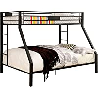 HOMES: Inside + Out Sarina Contemporary Metal Bunk Bed, Twin X-Large/Queen, Black