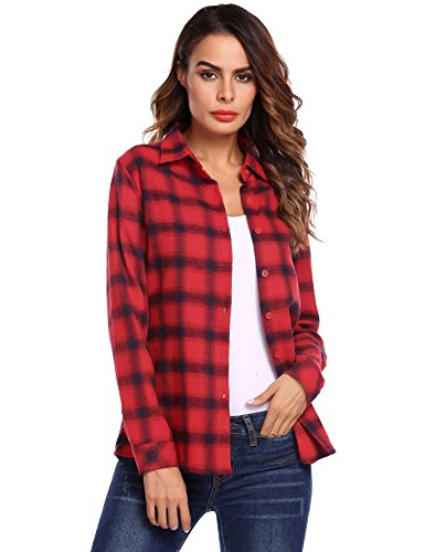 Beyove BeyoveWomen's Flannel Shirt, Button-Down Cotton Boyfriend Top Wine Red (Red Flannel)