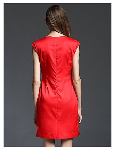 PU&PU Robe Aux femmes Gaine Vintage,Fleur Col Arrondi Au dessus du genou Polyester , black-3xl , black-3xl