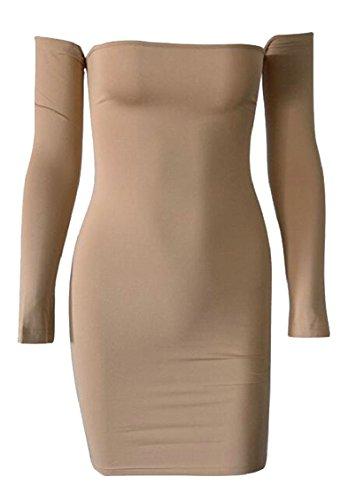 Khaki Shoulder Sexy up Party Dress Bodycon Mini Jaycargogo Lace Off Women's Backless Club x7FSqHw