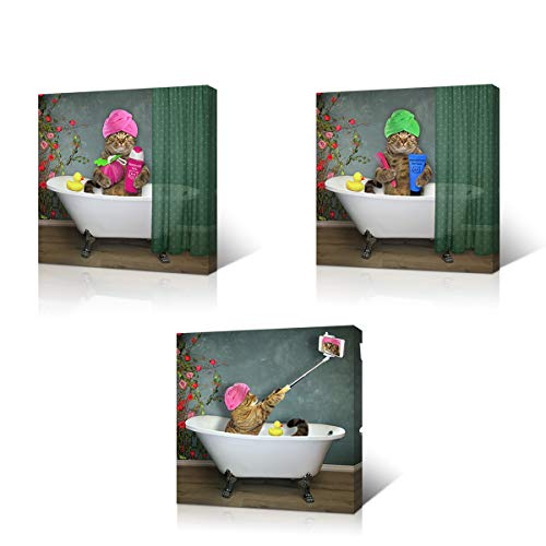 - VVOVV Wall Decor Animal Wall Decor Funny Pet Cat Pictures Wall Art Framed Modern Canvas Painting Bathroom Wall Decorations Ready to Hang (12x12inchx3pcs)