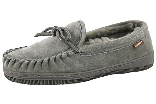 Moccasins Classic Suede (KUMFY Ldies Suede Classic Moccasin Slippers, Grey, Size 6US)