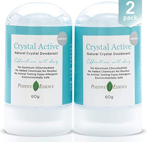 Crystal Deodorant Stone - Crystal Active - 100% NATURAL, LONG LASTING, Single Ingredient, No Aluminum Chlorohydrate or Chemicals - Unscented/Odorless, Thai Crystal Stone, Men and Women, 60g (2 pack)
