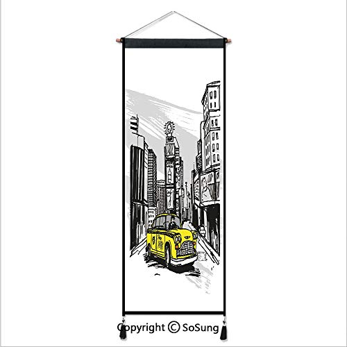 Sketchy Tapestry Wall Hanging,Yellow Hand Drawn Cab in New York Street Cityscape American Urban Life Art,Home Art Decor Beautiful Apartment Dorm Room Decoration,17.7